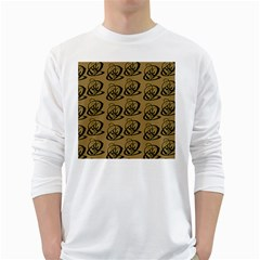 Abstract Swirl Background Wallpaper White Long Sleeve T Shirts