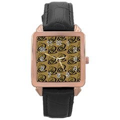 Abstract Swirl Background Wallpaper Rose Gold Leather Watch