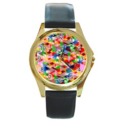 Background Abstract Round Gold Metal Watch