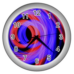 Background Blue Red Wall Clocks (silver)