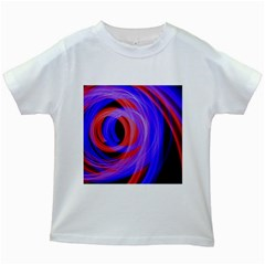 Background Blue Red Kids White T-Shirts