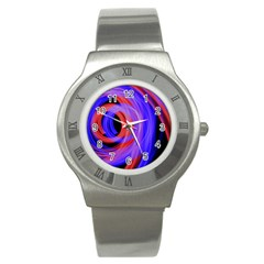 Background Blue Red Stainless Steel Watch