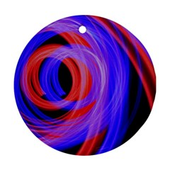 Background Blue Red Round Ornament (two Sides)