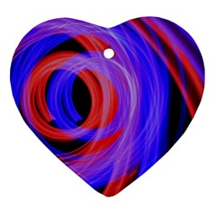 Background Blue Red Heart Ornament (two Sides)