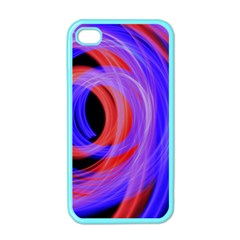 Background Blue Red Apple Iphone 4 Case (color)