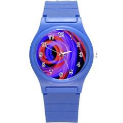 Background Blue Red Round Plastic Sport Watch (s)