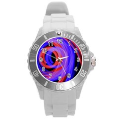 Background Blue Red Round Plastic Sport Watch (l)