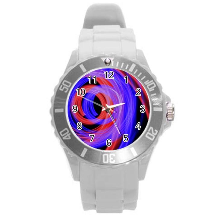 Background Blue Red Round Plastic Sport Watch (L)