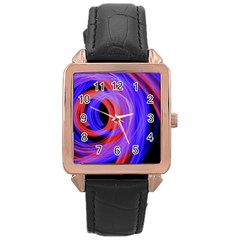 Background Blue Red Rose Gold Leather Watch