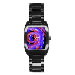 Background Blue Red Stainless Steel Barrel Watch
