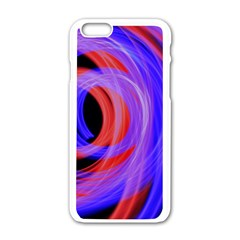 Background Blue Red Apple Iphone 6/6s White Enamel Case