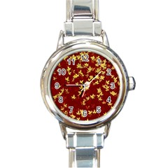 Background Design Leaves Pattern Round Italian Charm Watch