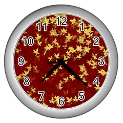Background Design Leaves Pattern Wall Clocks (silver)