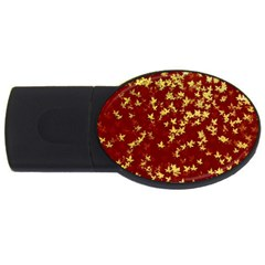Background Design Leaves Pattern Usb Flash Drive Oval (2 Gb)