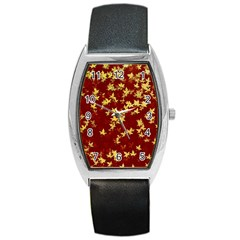Background Design Leaves Pattern Barrel Style Metal Watch