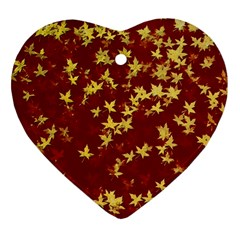 Background Design Leaves Pattern Heart Ornament (two Sides)
