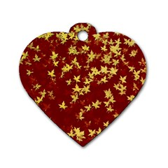 Background Design Leaves Pattern Dog Tag Heart (two Sides)