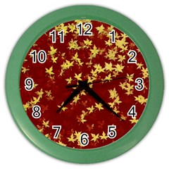 Background Design Leaves Pattern Color Wall Clocks
