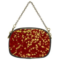 Background Design Leaves Pattern Chain Purses (two Sides)