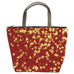 Background Design Leaves Pattern Bucket Bags