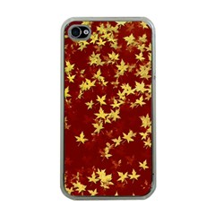 Background Design Leaves Pattern Apple Iphone 4 Case (clear)