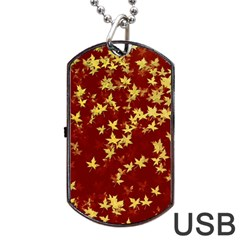 Background Design Leaves Pattern Dog Tag Usb Flash (two Sides)