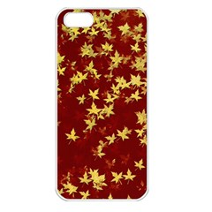 Background Design Leaves Pattern Apple Iphone 5 Seamless Case (white)