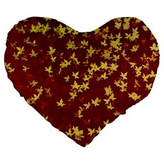 Background Design Leaves Pattern Large 19  Premium Flano Heart Shape Cushions