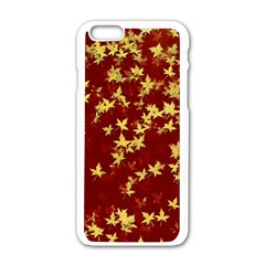 Background Design Leaves Pattern Apple Iphone 6/6s White Enamel Case