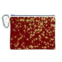 Background Design Leaves Pattern Canvas Cosmetic Bag (l)