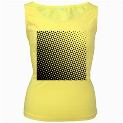 Background Wallpaper Texture Lines Dot Dots Black White Women s Yellow Tank Top