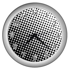 Background Wallpaper Texture Lines Dot Dots Black White Wall Clocks (silver)