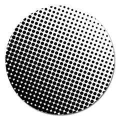 Background Wallpaper Texture Lines Dot Dots Black White Magnet 5  (round)