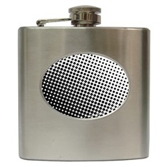 Background Wallpaper Texture Lines Dot Dots Black White Hip Flask (6 Oz)