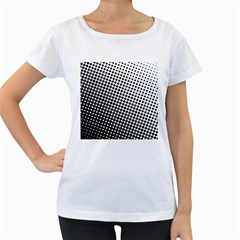 Background Wallpaper Texture Lines Dot Dots Black White Women s Loose Fit T Shirt (white)