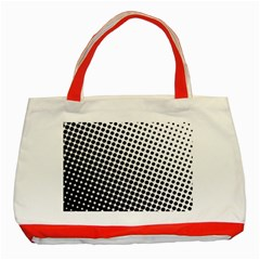 Background Wallpaper Texture Lines Dot Dots Black White Classic Tote Bag (Red)