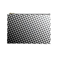 Background Wallpaper Texture Lines Dot Dots Black White Cosmetic Bag (large)