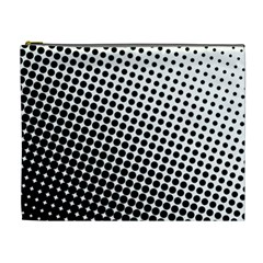 Background Wallpaper Texture Lines Dot Dots Black White Cosmetic Bag (xl)