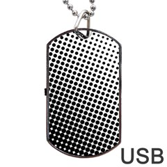 Background Wallpaper Texture Lines Dot Dots Black White Dog Tag Usb Flash (two Sides)