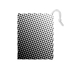 Background Wallpaper Texture Lines Dot Dots Black White Drawstring Pouches (medium)