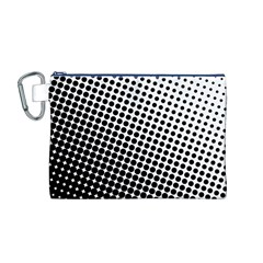 Background Wallpaper Texture Lines Dot Dots Black White Canvas Cosmetic Bag (m)