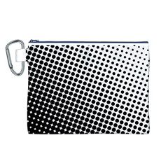 Background Wallpaper Texture Lines Dot Dots Black White Canvas Cosmetic Bag (l)