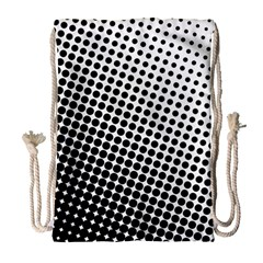 Background Wallpaper Texture Lines Dot Dots Black White Drawstring Bag (large)