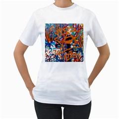 Background Graffiti Grunge Women s T-Shirt (White) (Two Sided)