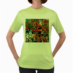 Background Graffiti Grunge Women s Green T Shirt