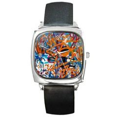 Background Graffiti Grunge Square Metal Watch