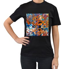 Background Graffiti Grunge Women s T Shirt (black) (two Sided)