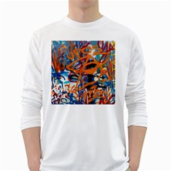 Background Graffiti Grunge White Long Sleeve T Shirts