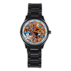 Background Graffiti Grunge Stainless Steel Round Watch