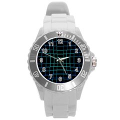 Background Wallpaper Texture Lines Round Plastic Sport Watch (l)